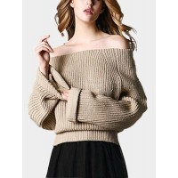 Women Apricot Off Shoulder Pullover Knit Sweater SKU459404 RKNXZBH