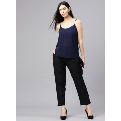 Shree Black Regular Fit Solid Trousers 6850263 ZNSHHLY